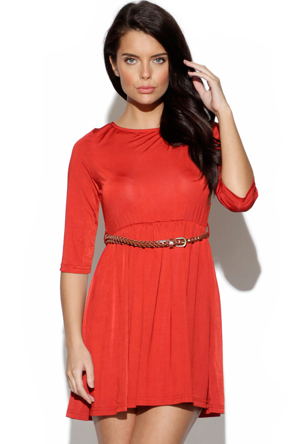 Belted Red Skater Dress