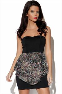 Oh My Love Bandeau Peplum Dress