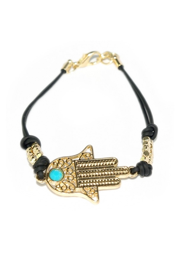 Golden Hamsa Black Chain Braclet