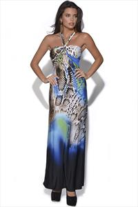 Abstract Animal Print Maxi Dress
