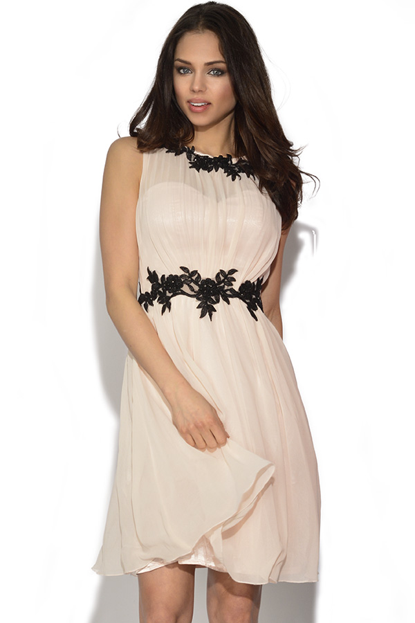 Little Mistress Floral Applique Chiffon Dress