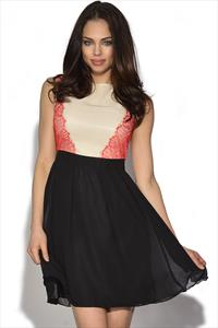 Little Mistress Lace Panel Fit And Flare Dress