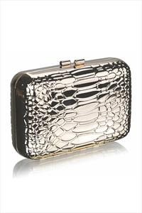 Metallic Snake Effect Clutch Bag