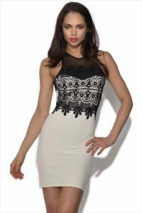 Mesh Insert Bodycon Dress