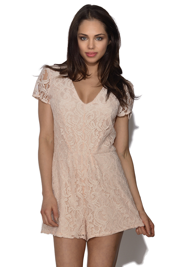 LOVE Lace Plunge V Neck Playsuit