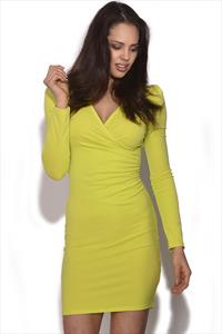 Ruched V Neck Dress