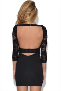 Quontum Lace Sleeve Scoop Back Dress