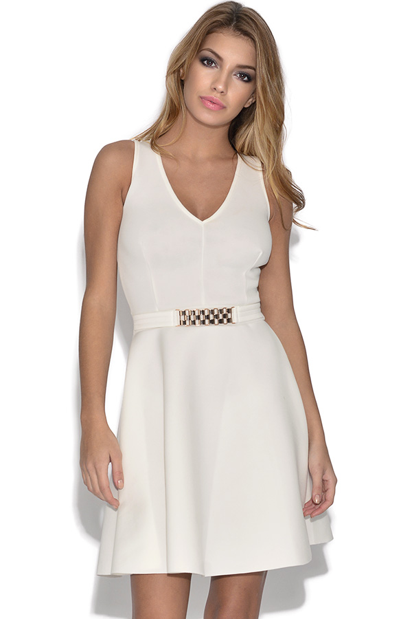 Belted Cream Skater Dress