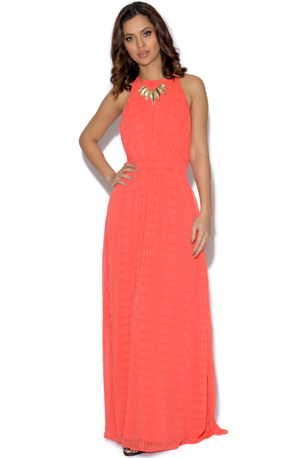 Little Mistress Papaya Embellished Maxi Dress