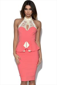 Tempest Coral Becky Peplum Dress