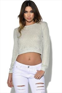 Silver Lurex Crop Jumper