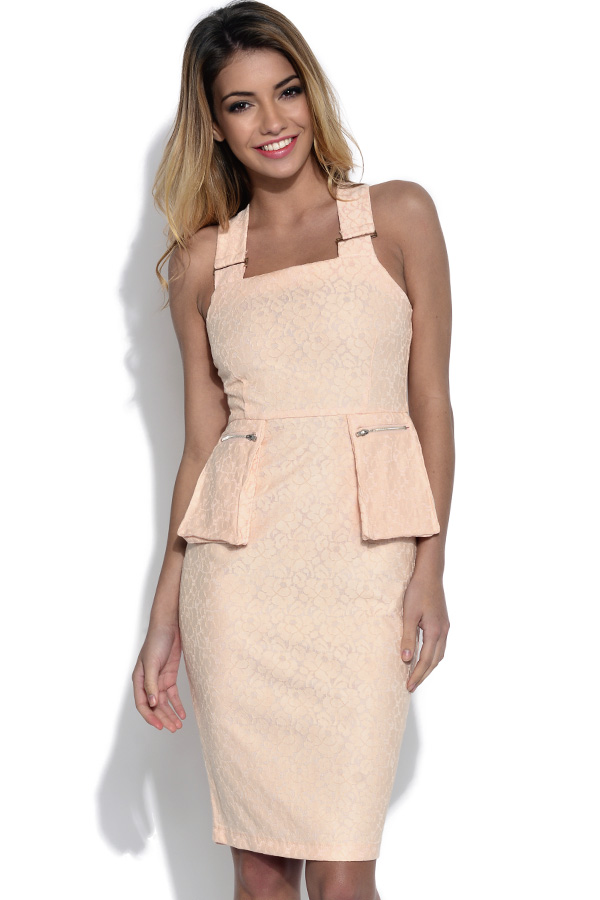 Lavish Alice Blush Lace Peplum Midi Dress