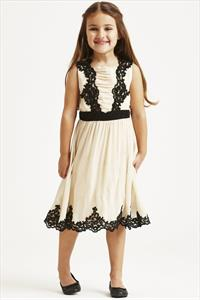 Little MisDress Embroidered Overlay Dress
