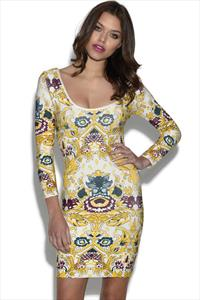 Long Sleeved Aztec Printed Bandage Dress