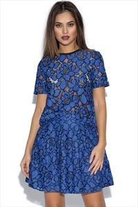 Girls On Film Cobalt Blue Floral Lace Top