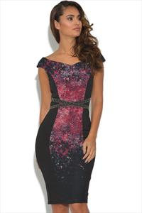 Little Mistress Black Floral Wiggle Dress