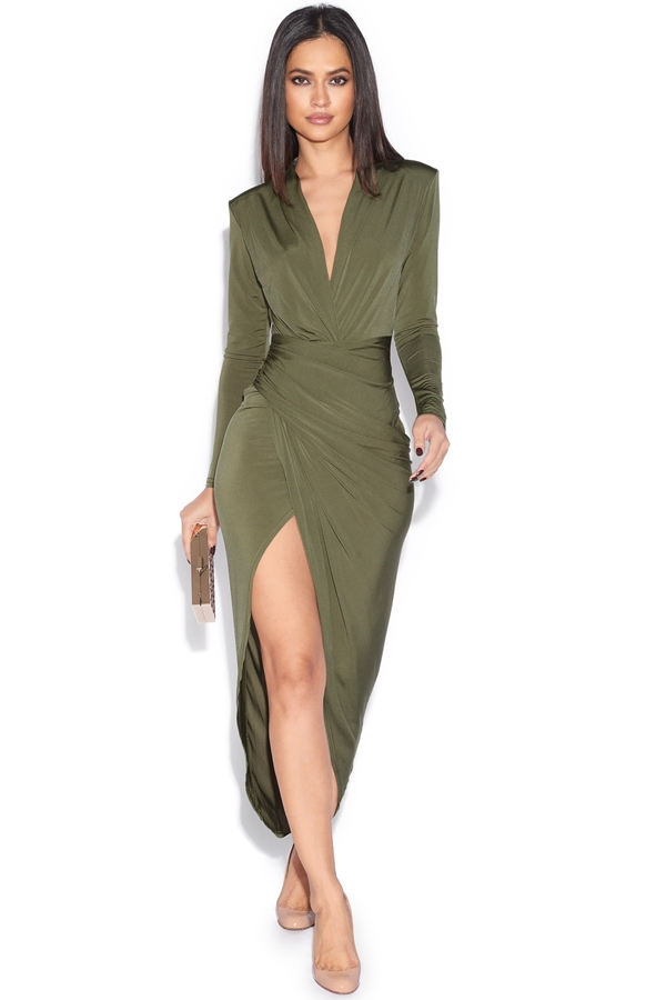Plunge Neck Structured Dress