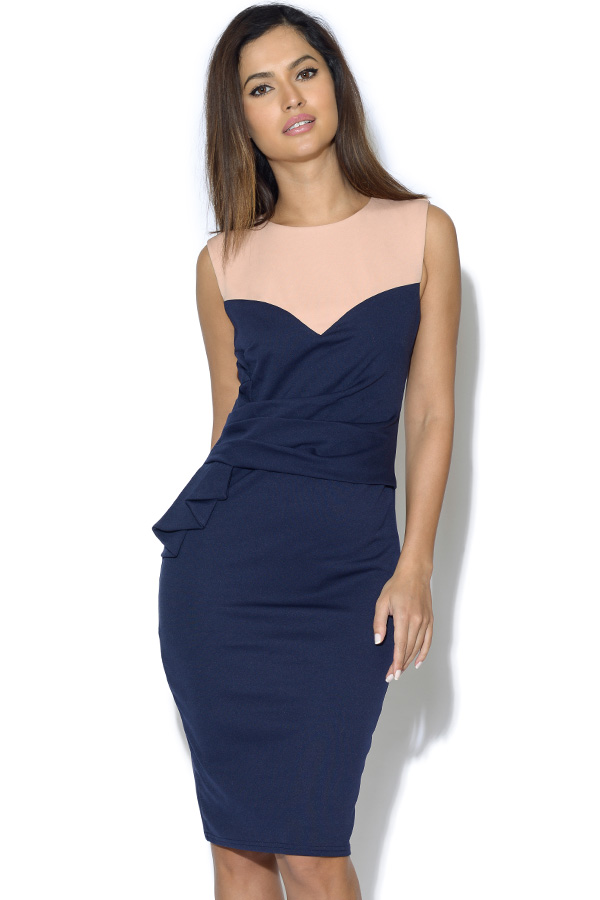 Two Tone Navy Origami Dress
