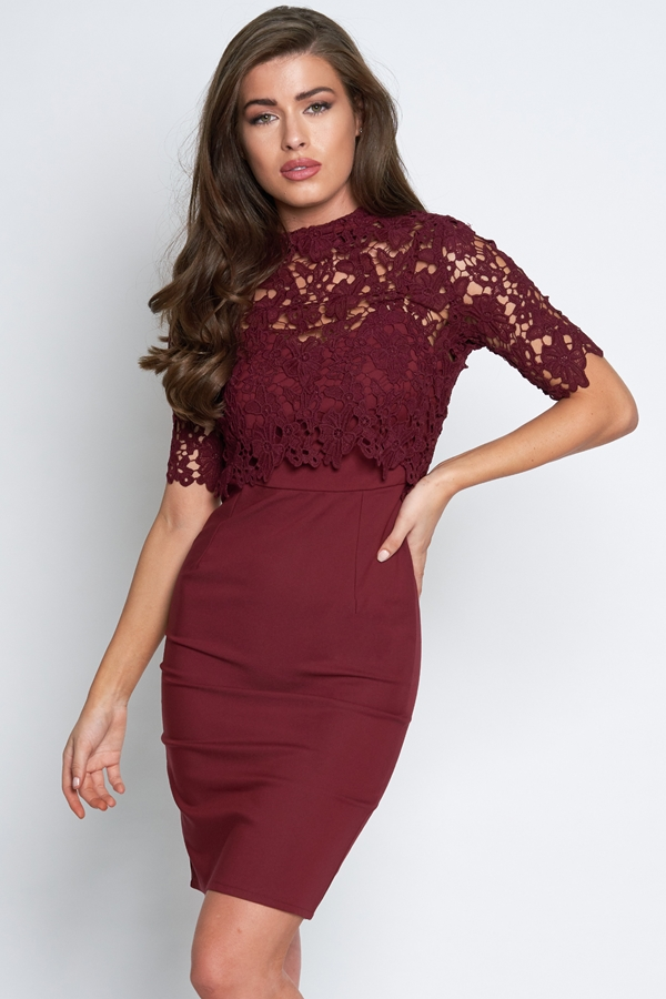 2 In 1 Overlay Lace Floral Dress