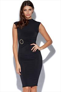 High Neck Black Bodycon Dress