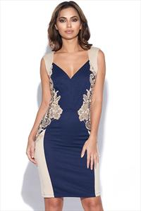 Lace Detail Panelled BodyCon Dress
