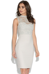 Grey Lace Top Bodycon Dress