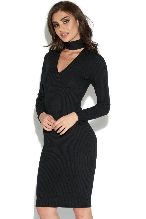 Long Sleeved Ribbed Choker Bodycon Dress