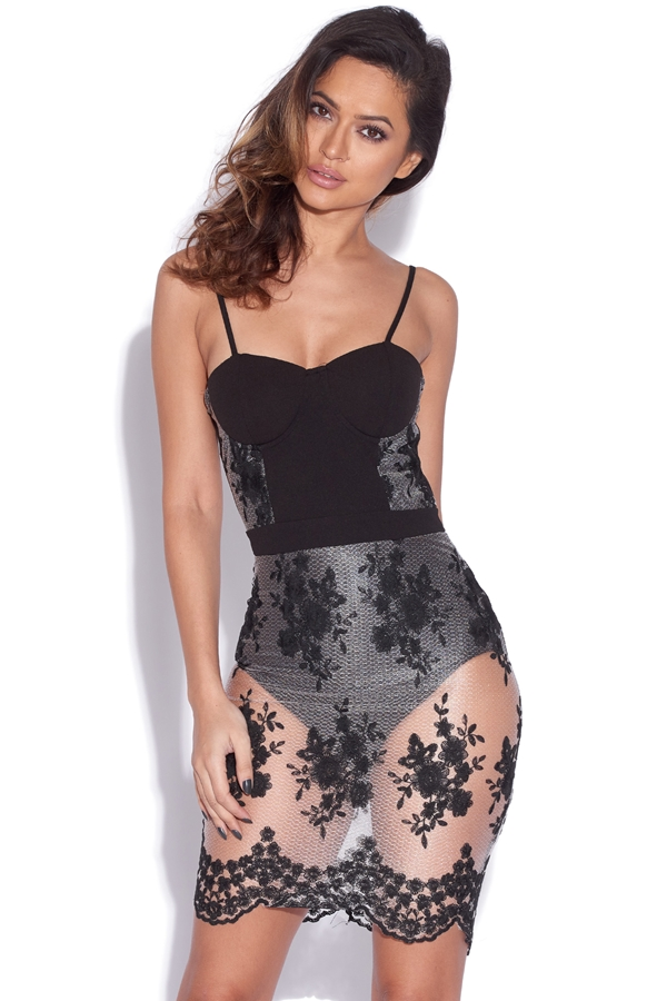 Embroidered Mesh Sheer Detail Bodycon Dress