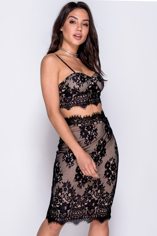 Lace Bralet & Skirt Co Ord Set