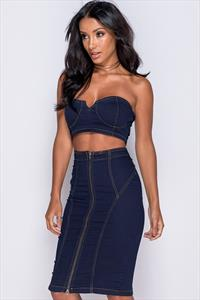 Denim Bralet & Skirt Co Ord Set
