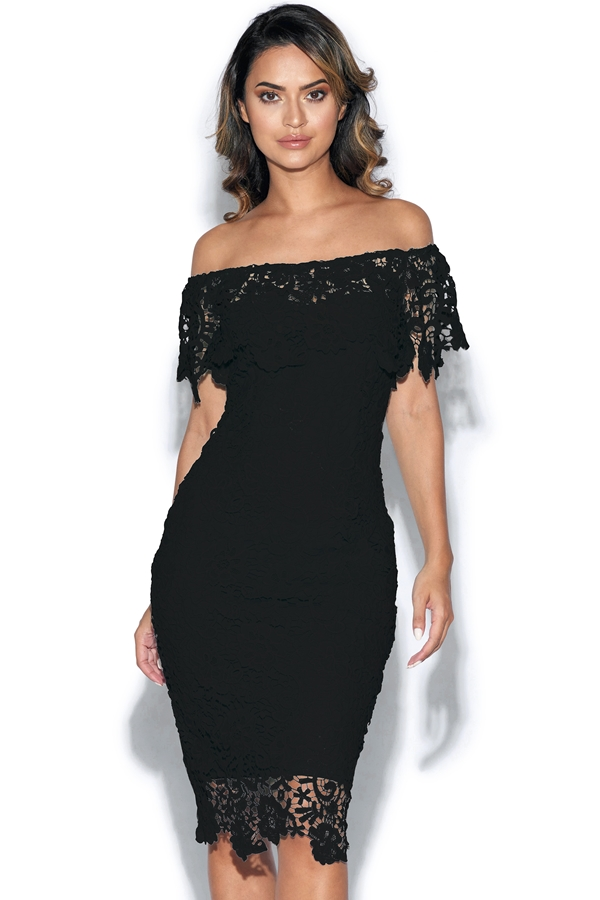 Bardot Crochet Lace Dress