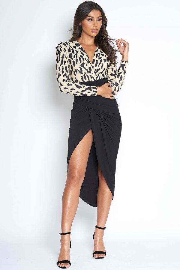 2 in 1 Leopard Print Plunge Dress