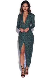Forest Green Leopard Print Plunge Dress