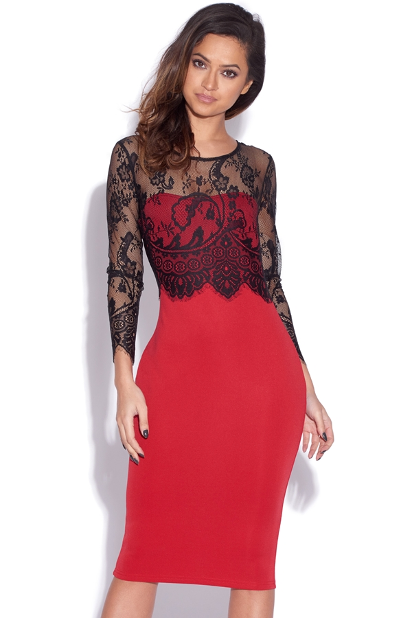Lace Sleeve Overlay Midi Dress