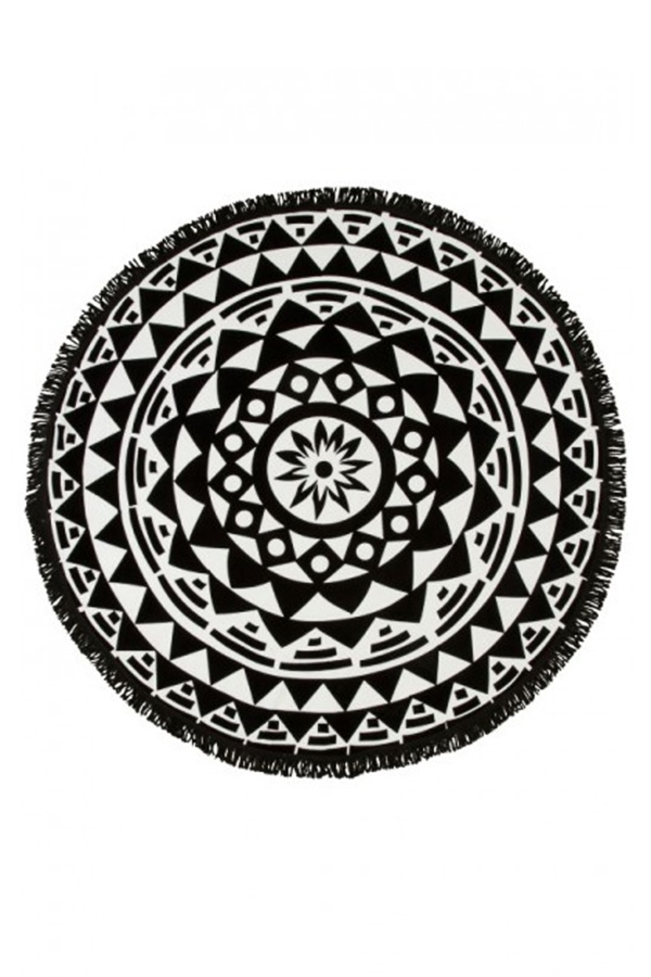 Black Geometric Fringed Round Beach Towel