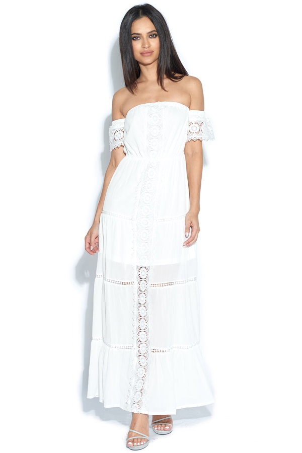 Lace Trim Bardot Maxi Dress