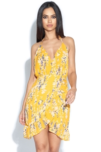 Floral Print Frill Detail Halterneck Dress