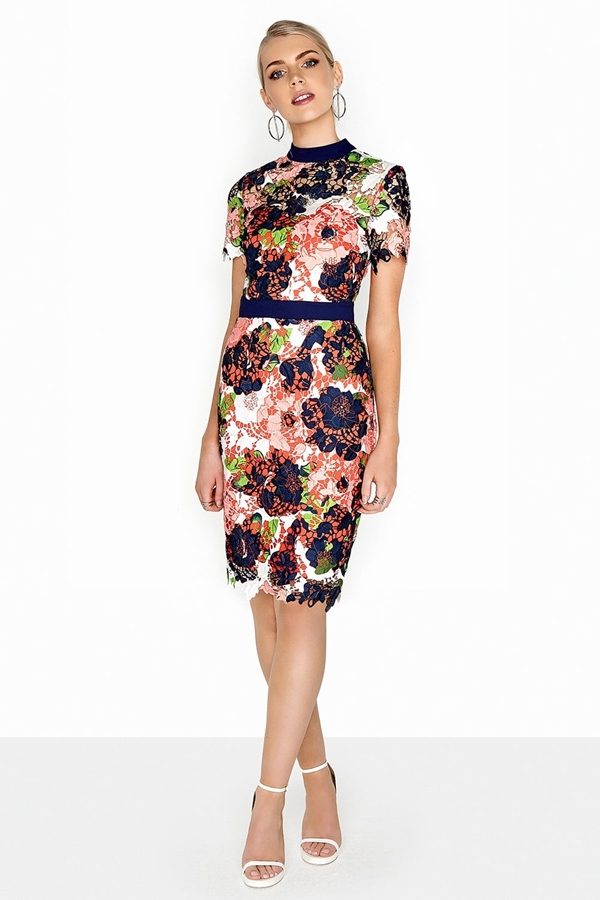 Bloom Print Crochet Bodycon Dress