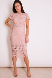 Dusky Pink Crochet Lace Dress