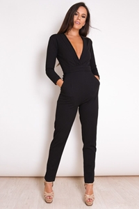 Black Plunge Neck Jumpsuit