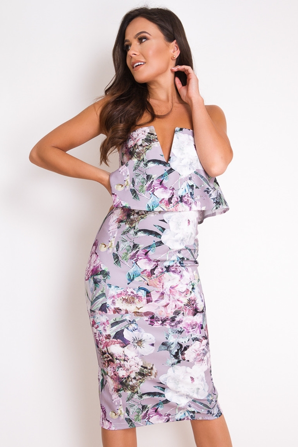 Strapless 2 in 1 Floral Print Dress