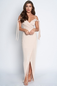 Tie Cold Shoulder Maxi Dress