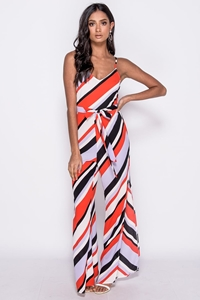 Striped Side Split Cami Jumpsuit