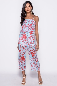 Floral Layered Cropped Leg Jumpsuit
