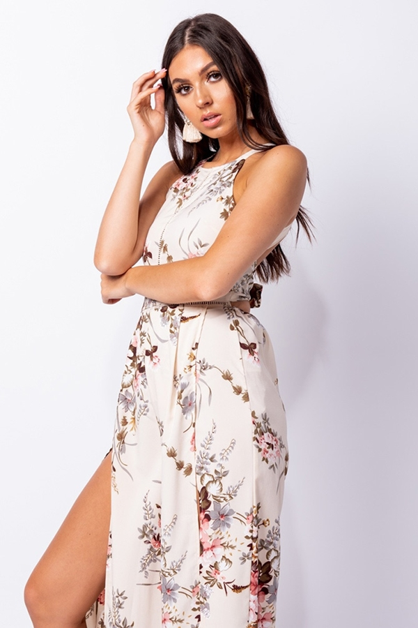 Floral Thigh Split Wide Leg Tie Back Jumpsuit