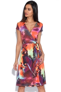 Abstract Leopard Pink Orange and Grey Wrap Dress