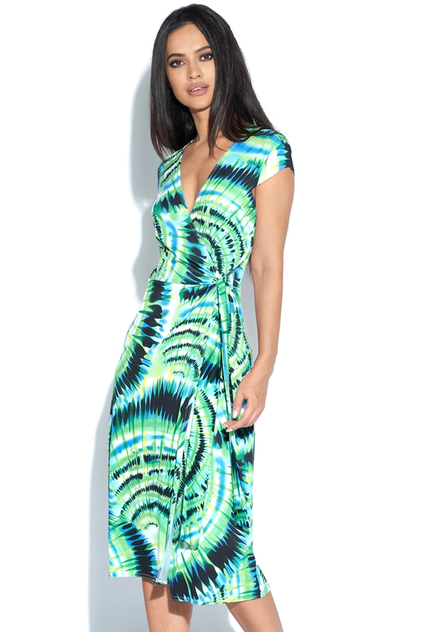 Green Print Wrap Dress