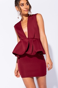 Plunge V Neck Peplum Detail Sleeve Mini Dress