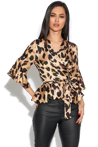 Leopard Print Peplum Wrap Over Top