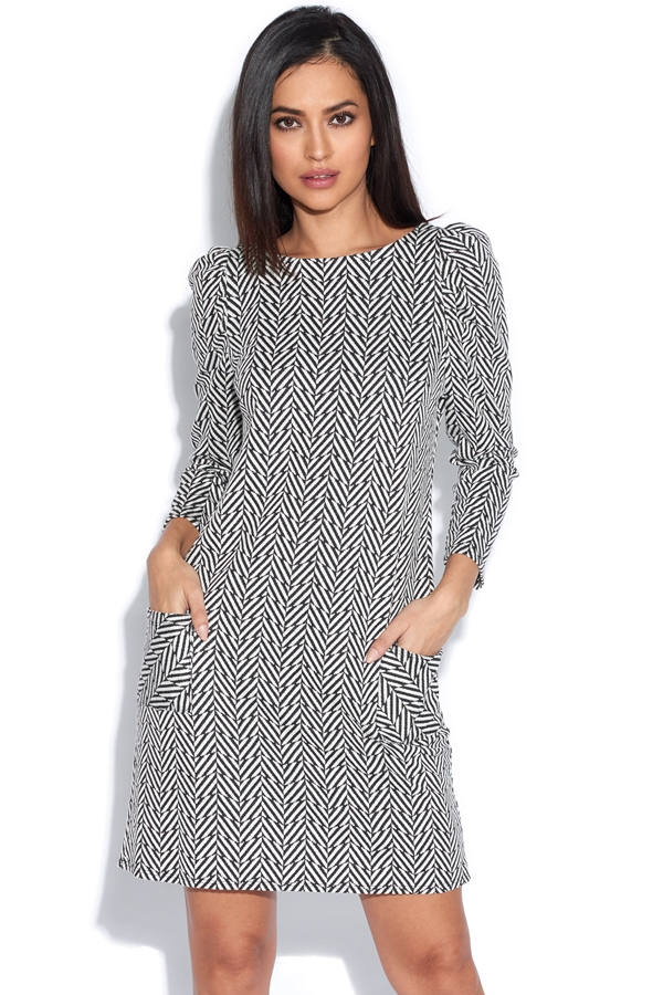 Puff Shoulder Monochrome Dress